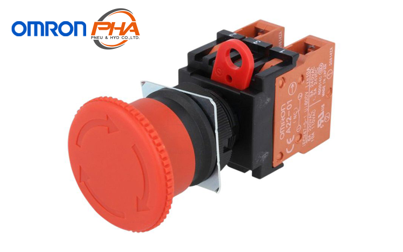 60mm Diameter Red Non-Lighted Omron A22E-L Emergency Stop Operation Unit IP65 Oil-Resistant Push-Lock Turn-Reset Operation